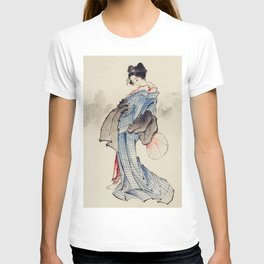 Japanese Ukyio-e style illustration of a Japanese woman in kimono,  Japan old art T-shirt