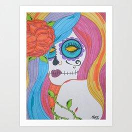 Prismacolor Sugar Skull Girl Art Print