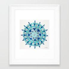 Mandala – Silver & Blue Framed Art Print
