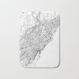 Barcelona White Map Bath Mat