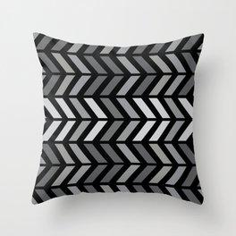 Chevron Black Gray Throw Pillow