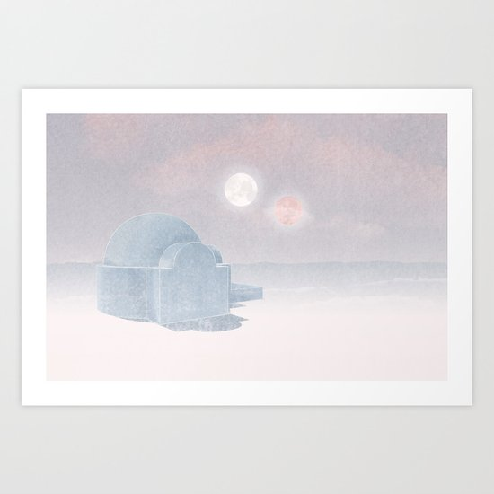 Tatooine Christmas Card Art Print
