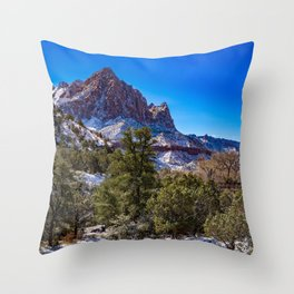 The_Watchman - Winter in Zion_National_Park, UT Throw Pillow