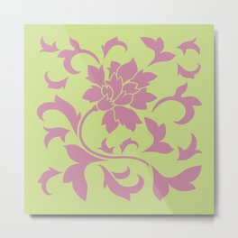 Oriental Flower - Strawberry & Daiquiri Green Lime Metal Print