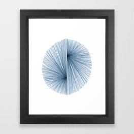 Indigo Blue Mid Century Modern Geometric Abstract Framed Art Print