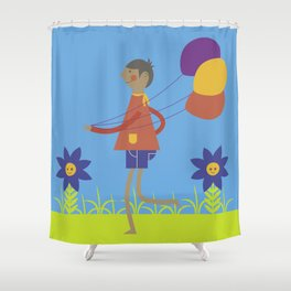 A boy with his balloons. Shower Curtain
