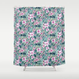 LUSH OLEANDER Tropical Watercolor Floral Shower Curtain