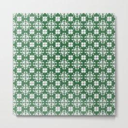 Green & White Floral Tile Pattern Metal Print