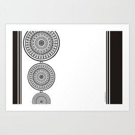 Black and White Mandala - Boho Style ink art, Three Mandala Design Art Print