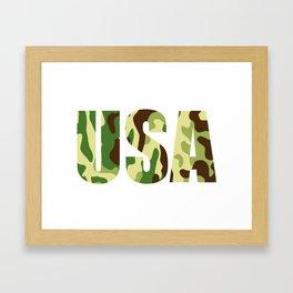 USA khaki camouflage sign Framed Art Print