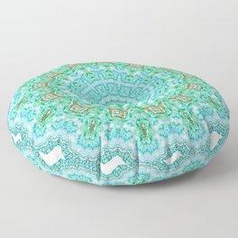 Blue Turquoise Mandala Floor Pillow