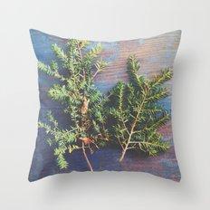 Hemlock on Blue Table Throw Pillow