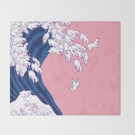Llama Waves in Pink Throw Blanket