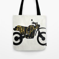stay gold Tote Bags featuring Stay Gold by Ride The Storm