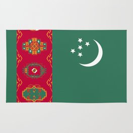 Turkmenistan flag emblem Rug