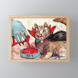 don't forget to feed the cat Framed Mini Art Print