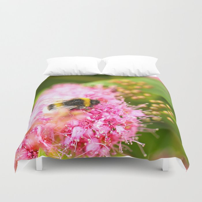 Busy Bee Bzzzzzzz On A Pink Flower #decor #society6 Duvet Cover
