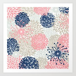 Floral Mixed Blooms, Blush Pink, Navy Blue, Gray, Beige Art Print