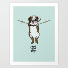Hang in There Baby English Bulldog Art Print