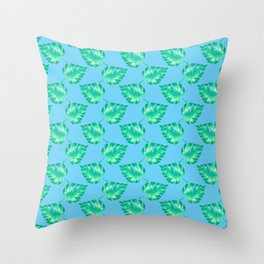 Watercolor Monstera Leaves on Blue Throw Pillow