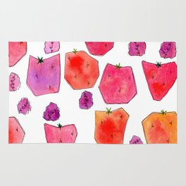 """Berry Happy!"" Strawberry Raspberry Illustration Fruits Pattern Kitchen Decor Food Rug"