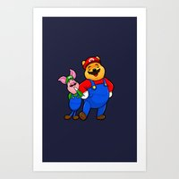 pooh Art Prints featuring bear pooh by NORI