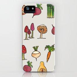 Vegetable Mushroom Fruit Pattern iPhone Case