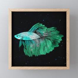 Green Galaxy Betta Fish Framed Mini Art Print