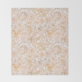 Gold Florals on Pink Marble Throw Blanket