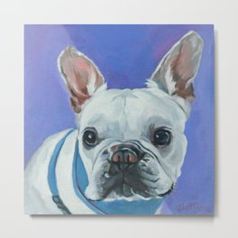 French Bulldog Portrait Painting Metal Print