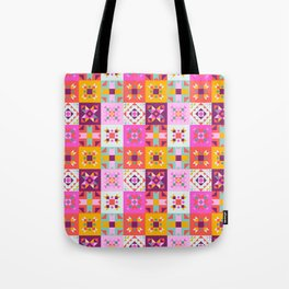 Maroccan tiles pattern with pink Tote Bag