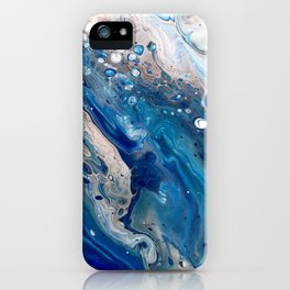 Blue Marbled Fluid Painting Unique Swirls Water iPhone Case