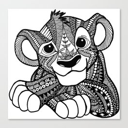 Zentangle Simba Canvas Print