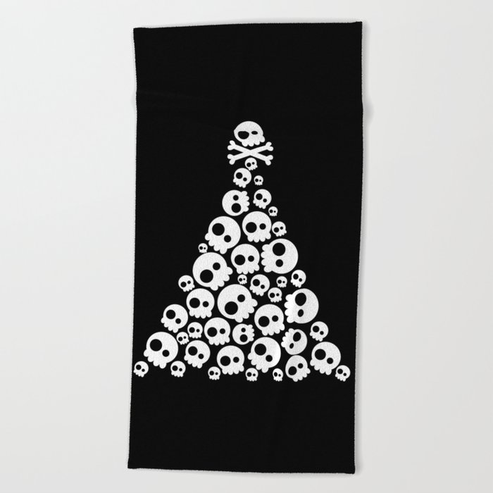 Skulls Christmas Tree Beach Towel