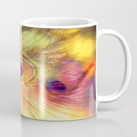 peacock feather Mugs featuring peacock feather by Sylvia Cook Photography