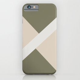 Light Beige White Green Stripe Offset Shape Design 2021 Color of the Year Uptown Ecru & Accent Shade iPhone Case