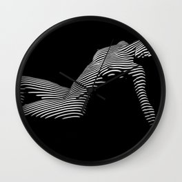 0067-DJA Zebra Nude Woman Yoga Black White Abstract Curves Expressive Line Slim Fit Girl  Wall Clock