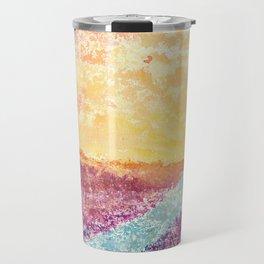 Magical Sunset Watercolor Illustration Travel Mug