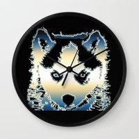 husky Wall Clocks featuring husky by AngelaArt