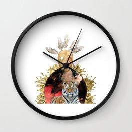Mask Tiger Surreal Collage Wall Clock