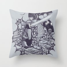 Lucha Kaiju Throw Pillow