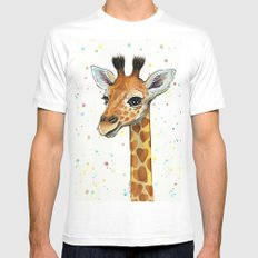 Giraffe Baby Animal with Hearts Watercolor Cute Whimsical Animals Nursery White Mens Fitted Tee SMALL