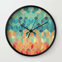 Colorful Squares with Gold - Friendly Colors and Marble Texture Wall Clock