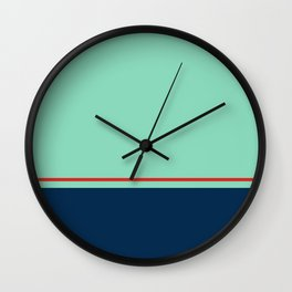 Blue Pink Line Pattern Home Decor Printable Minimal Art Wall Clock