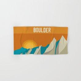Boulder, Colorado - Skyline Illustration by Loose Petals Hand & Bath Towel