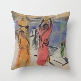 Women carrying water from Pushkar Lake Throw Pillow