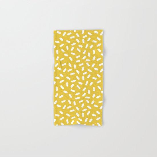 Somethin' Somethin' - yellow bright happy sprinkles pills dash pattern rad minimal prints Hand & Bath Towel
