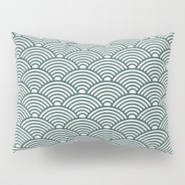 Japanese Waves (Dark Green & White Pattern) Pillow Sham