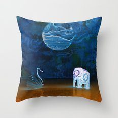 Earth meeting Sky - on Fullmoon Night Throw Pillow