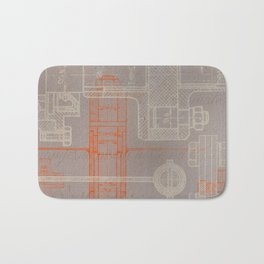 Steampunk engineering schematic Bath Mat